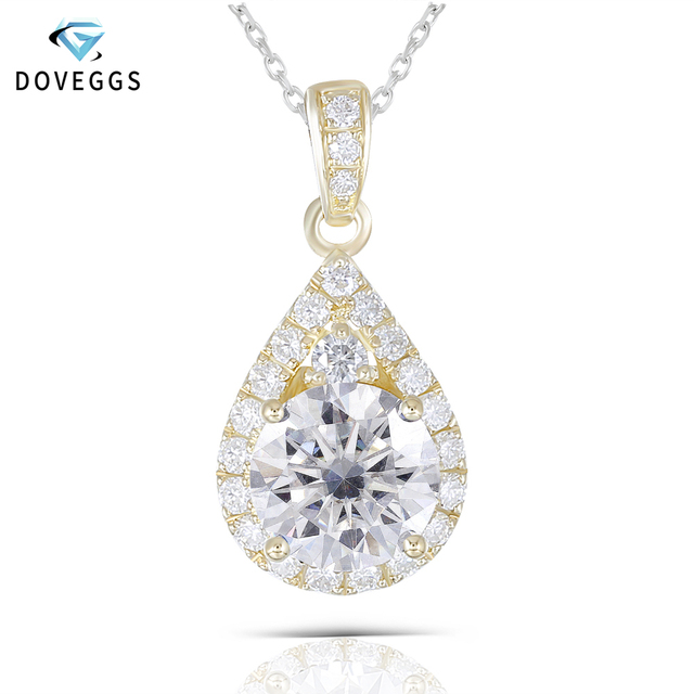 DovEggs 10K Yellow Gold 1.25CTW 6.5mm GH color Moissanite Halo Pendant Water Drop Shaped Pendant with Accents for Women