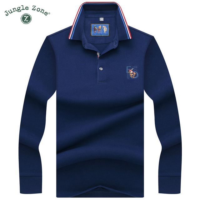 d110b7959cb High Quality Solid Color 3D Embroidery Polos Business Casual Polos shirts  Men Long sleeve polo shirt