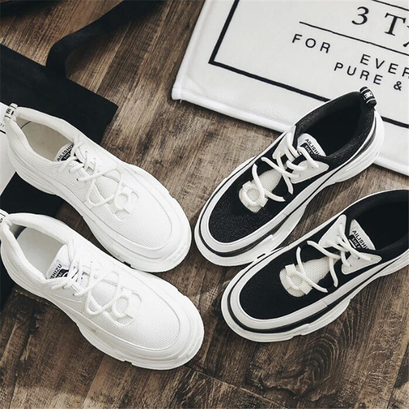Shoes Women Platform Clunky Sneakers 2018 Lace Up Dorky sneakers Women Walking Dad Shoes Casual White Woman Flats Footwear dagnino women flat lace up breathable trainers casual walking shoes all match white canvas shoes print woman sneakers footwear