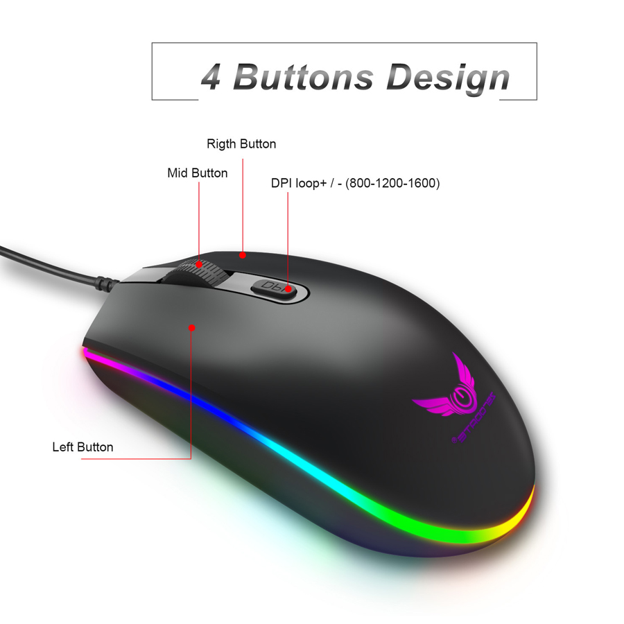 Professional Wired Gaming Mouse 4 Button RGB LED Optical USB Computer Mouse  Gamer Mice S900 Game Mouse For PC Laptop
