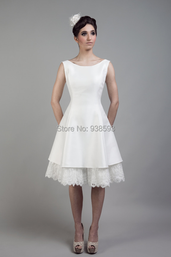 Simple Design Lace and Satin Low Back Short Wedding Dresses Knee ...