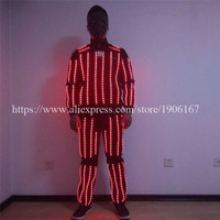 Wholesale new design RGB led costumes led robot colorful led suit performance dance show ballroom led cloth