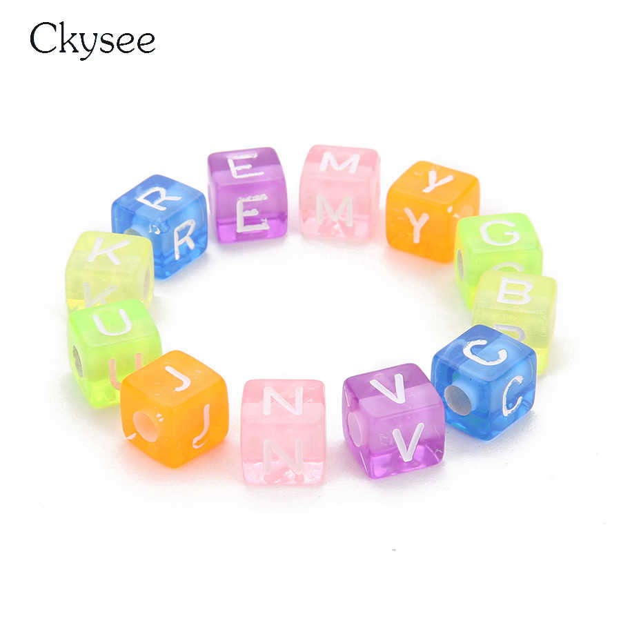 Ckysee 100Pcs/lot Transparent Square Cube Acrylic Beads 6 7 10mm Diameter Engraved Alphabet Letter Spacer Beads Diy Accessories