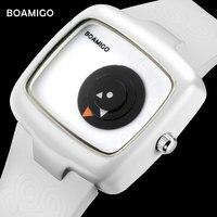 Thời trang nữ đồng hồ BOAMIGO thương hiệu sáng tạo ladies quartz đồng hồ cô gái cao su trắng đeo tay quà tặng đồng hồ relogio feminino