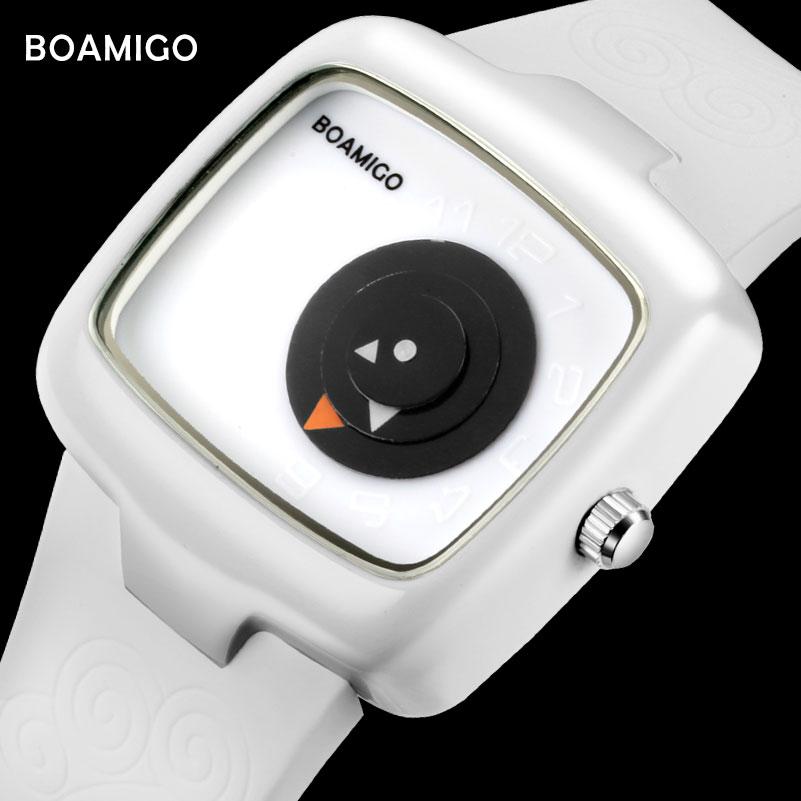 Fashion Women Watches BOAMIGO Brand Creative Ladies Quartz Watches Girl White Rubber Wristwatches  Gift Clock Relogio Feminino