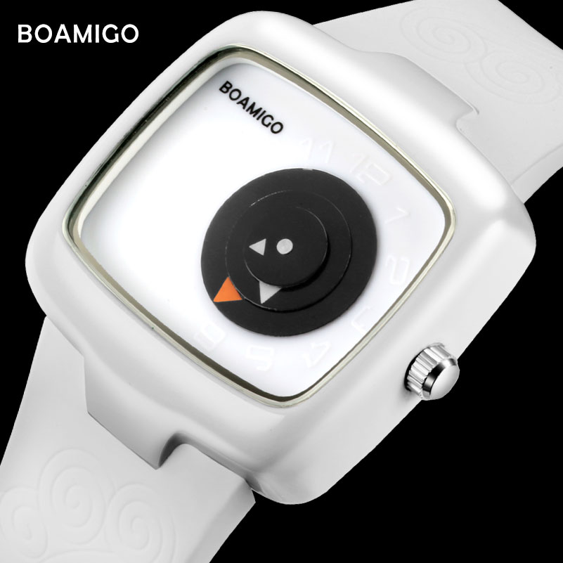 fashion women watches BOAMIGO brand creative ladies quartz watches girl white rubber wristwatches gift clock relogio feminino
