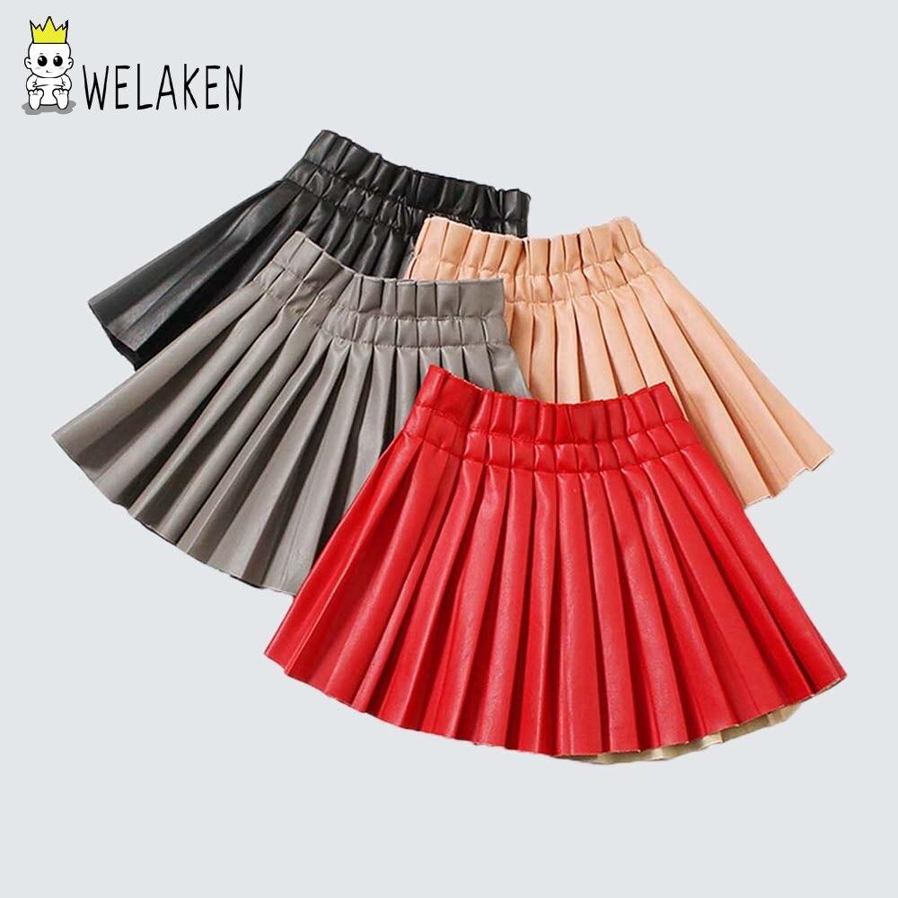 c0e2690fa WeLaken Girls PU faldas 2019 moda bebé niña cintura elástica PU Faux cuero  plisado falda niños Falda corta ropa de niños