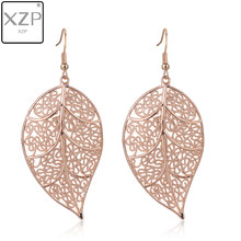 XZP Vintage Leaves Drop Earrings Luxury Boho Bohemian Leaf Dangle Earrings Hollow Out Earrings For Women New Fashion Jewelry(China)
