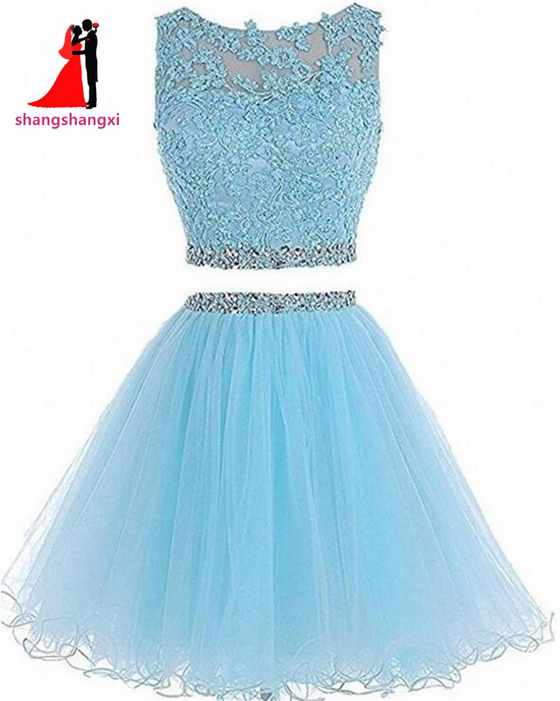 2 Piece Short Prom Dress Homecoming Dresses 2018 Cheap Appliques ...