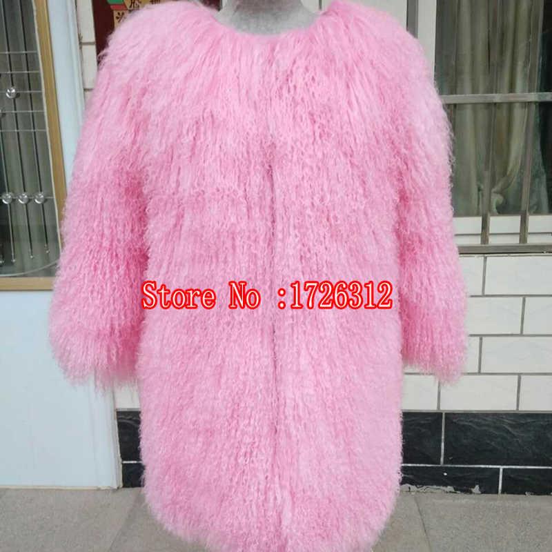 Kadınlar gerçek moğol koyunu kürk manto kapşonlu o-boyun orta uzun plaj yün kürk giyim kış koyun derisi palto kadın