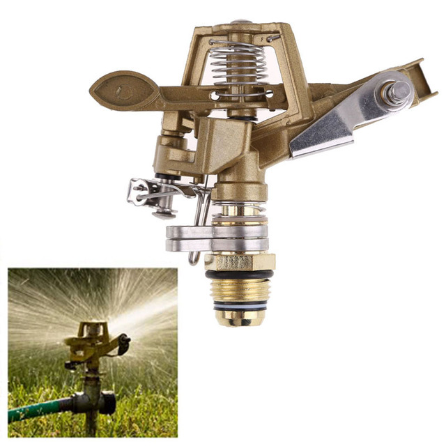 Garden Water Sprinkler Spray Nozzle Fountain Irrigation Connector Copper Rotate Rocker Arm watering Tool 1/2 Inch