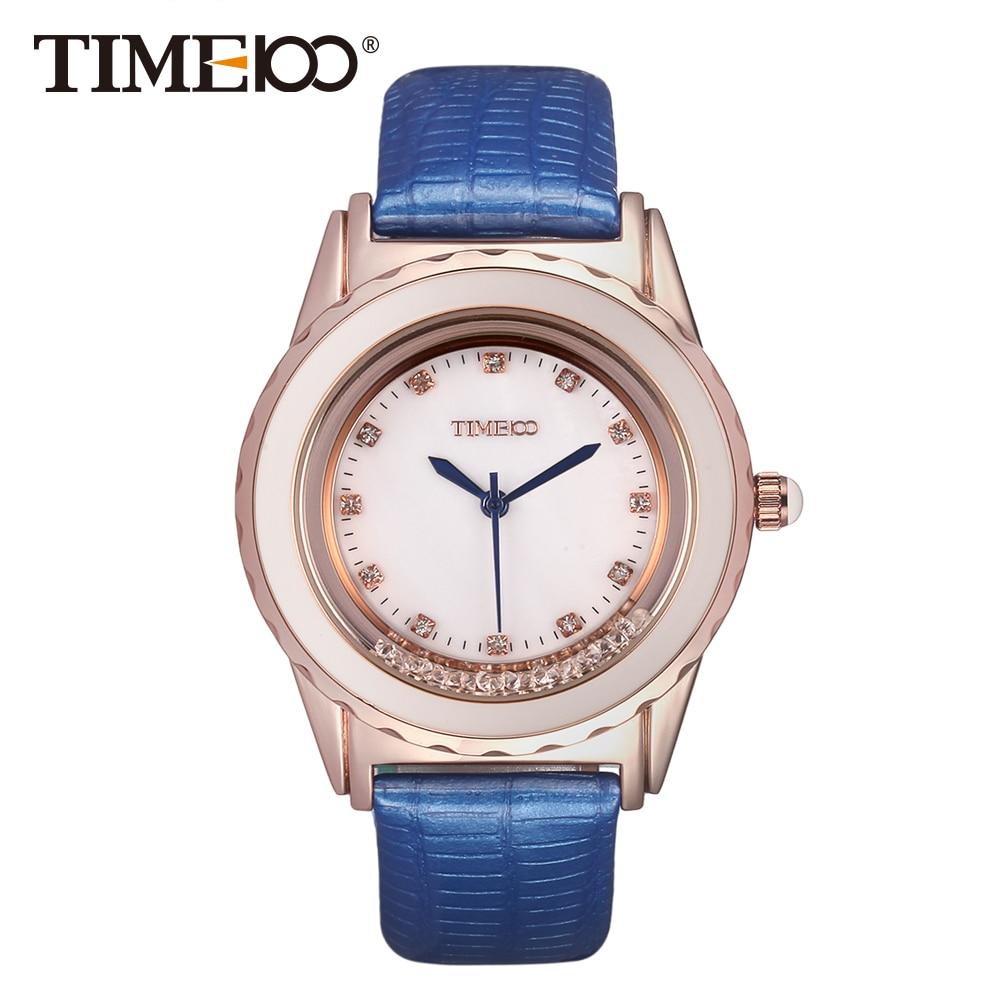 TIME100 Ladies Fashion Unique Blue Leather Strap Diamond Dial Flowing Crystal Women Quartz Wrist Watch W50328L.02A