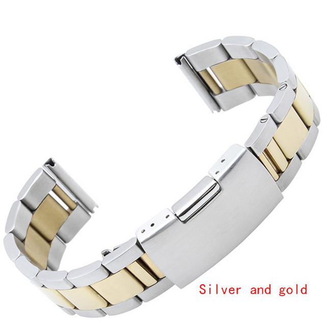 Promoção Clássico Pulseira De Metal Relógios Homens de Aço Inoxidável Pulseiras 16mm 18mm 20mm 22mm 24mm Prata Black Gold Rosegold