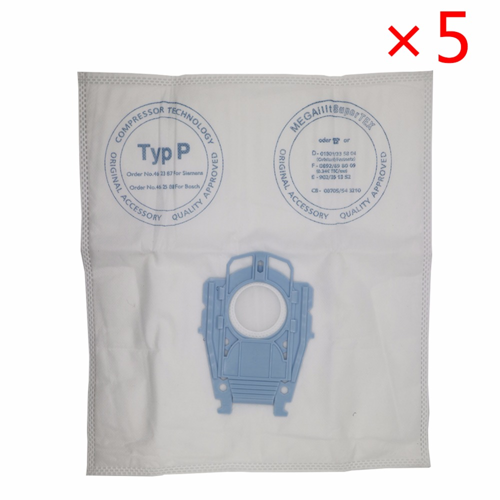 5pcs/lot Good Vacuum Cleaner Microfleece Type P Filter Dust Bag For Bosch Hoover Hygienic Professional BSG80000 468264 461707