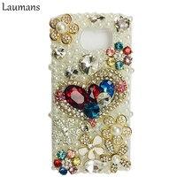 Laumansไข่มุกรักหัวใจRhinestoneป้องกันกรณีปกโทรศัพท์สำหรับSamsung Galaxy NOTE 8 7 5 4 3 S4 S5 S6 S7ขอบS8 PLUS S3