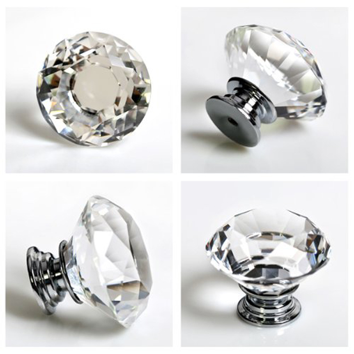 40mm Diamond Faceted Clear Crystal Glass Cabinet Knob Cupboard
