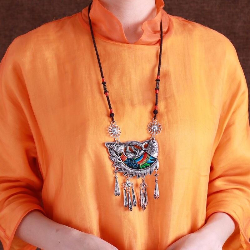 Style populaire rétro Miao argent bijoux collier broderie femme long chandail chaîne Yunnan poisson mode bijoux ornements