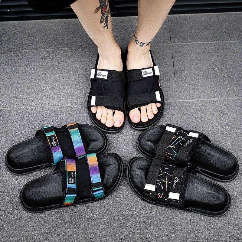 2019 קיץ סנדלי גברים אופנה Mens חיצוני נעלי בית רומי איש כפכפים מקרית Sandalia Masculina בתוספת גודל 46 נעליים שטוחות