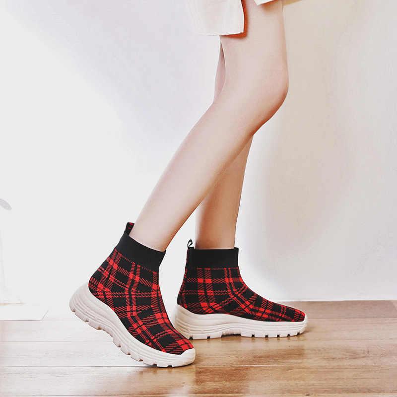 DORATASIA 2020 yeni Slip-on yüksek üst Platform patik kadın Add kürk sonbahar kış moda şemsiye kadın takozlar ayakkabı kadın