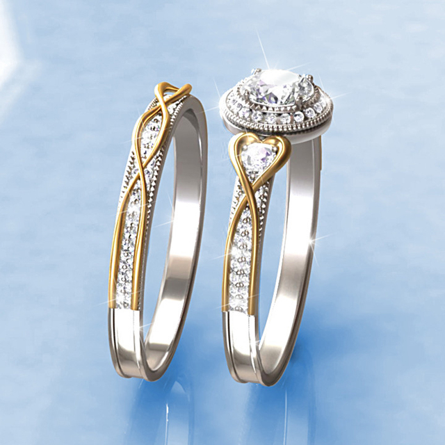 Center 1ct Simulated Diamond Ring Split Trellis 925 Silver Two Tone Gold Plated Vintage Halo Style