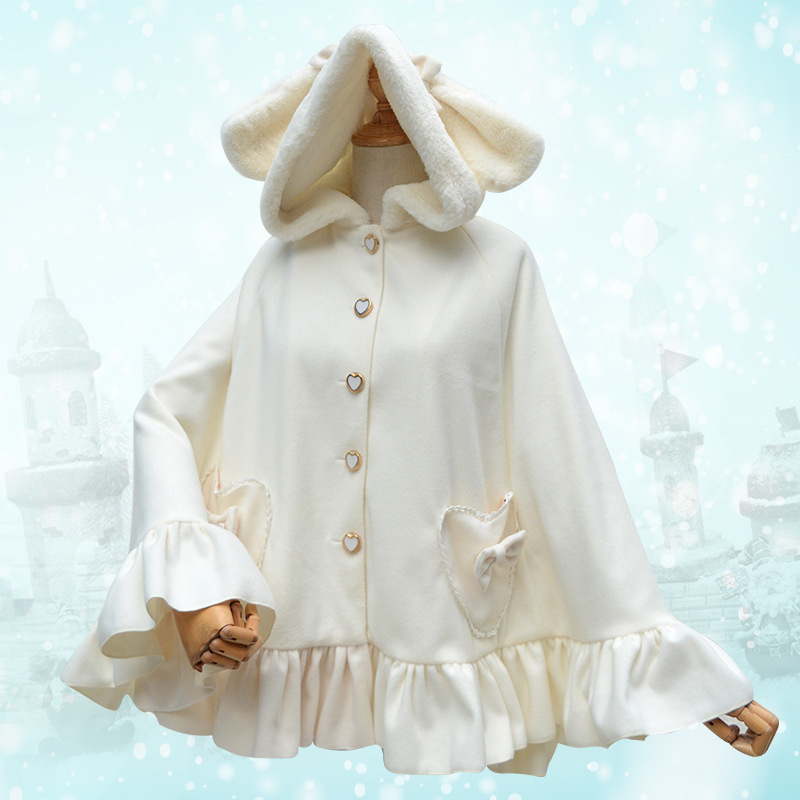 2017 Winter Sweet Lolita Woolen Cape Bunny ears Hooded Cute Princess Fleece Girls White Long Cloak Coats Kawaii Women Overcoat