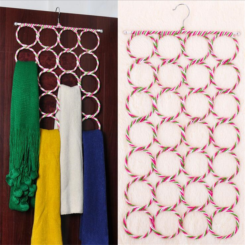 Multifunctional 28 Hole Ring Rope Slots Storage Holder Hook Scarf Wrap Shawl Hanger Organizer Rack Clothes Tie Circle In Holders Racks