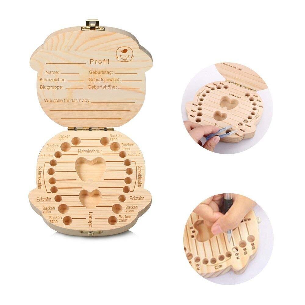 1 unid caja de dientes de bebé organizador caja de almacenamiento para los niños muchacho y muchacha alemán madera dientes de leche caja de almacenamiento Dropship 5O0906