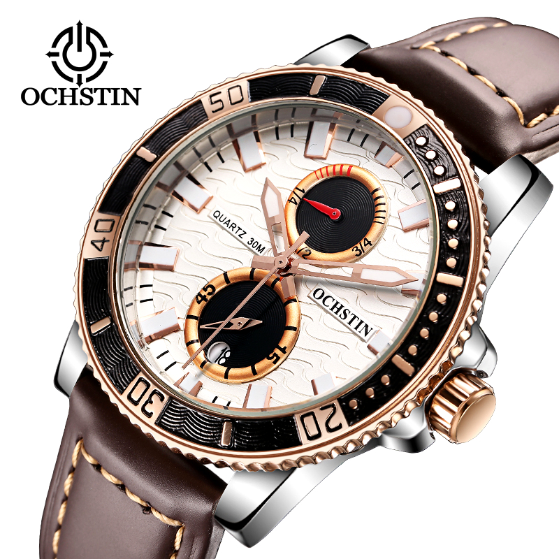 Mens Watches OCHSTIN Top Brand Luxury Waterproof Clock Quartz Men Sport Casual Genuine Leather Business Wrist Watch Reloj Hombre ochstin square luxury brand military watch men analog quartz wrist watch leather clock man new sport men watch army reloj hombre
