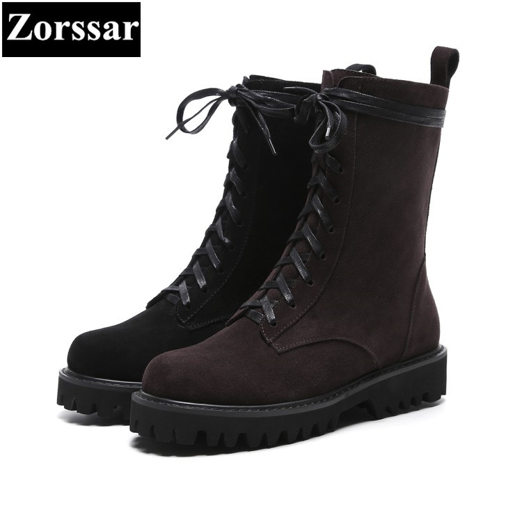 {Zorssar} 2018 NEW fashion women Martin boots Cow Suede comfort Flats heel lace up Mid Calf boots autumn winter women shoes stylish women s mid calf boots with solid color and fringe design