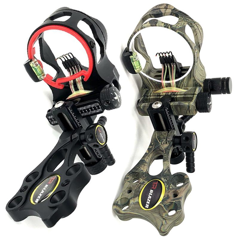 019 5 pins Optical Fiber Compound Bow Sight Micro Adjustable Bow Sight with Light Outdoor Hunting