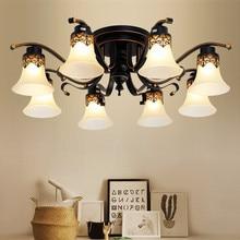 Винтажный потолочный светильник, антикварная металлическая стеклянная люстра, потолочный светильник, ретро светильник, E27, светодиодная лампа, источник лампы, фитинг Ming