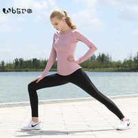 חדש הגעה WBTRO 3 חתיכות חליפת יוגה בגדי כושר ריצה לנשימה ארוך שרוולים יוגה חולצה עם ספורט חזיית יוגה צפצף