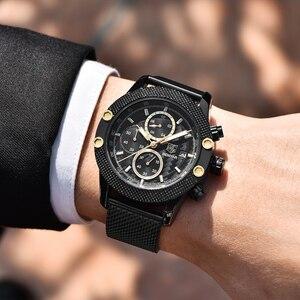 Image 3 - BENYAR Sport Chronograph Fashion Watches Men Mesh & Rubber Band Waterproof Luxury Brand Quartz Watch Gold Saat dropshipping