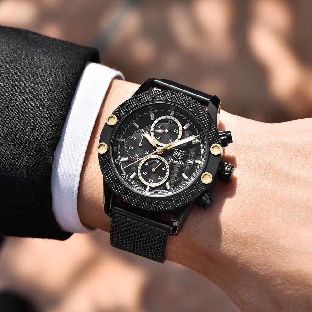 BENYAR спортивные часы с хронографом, модные мужские часы с сетчатым и резиновым ремешком, водонепроницаемые Роскошные брендовые кварцевые часы, золотые Saat, Прямая поставка