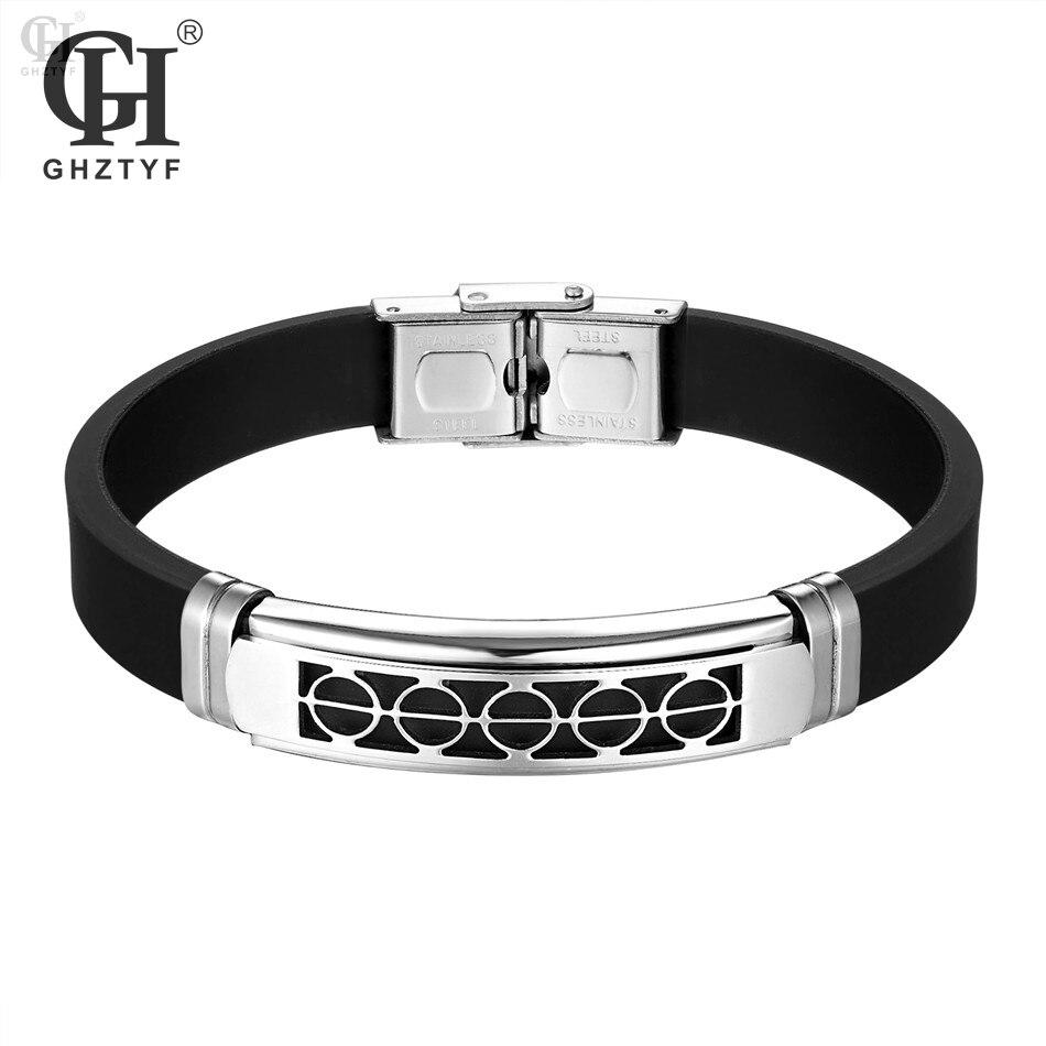 705dfd82a Geometric Men's Rubber Stainless Steel Bracelets & Bangles Men Black  Silicone Bracelet Pulseira Masculina Jewelry