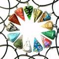 New Necklace Natural Stone Nice Pyramid Reiki Healing Pendulum Chakra Pendant Charm Opal Precious Sstone Necklace