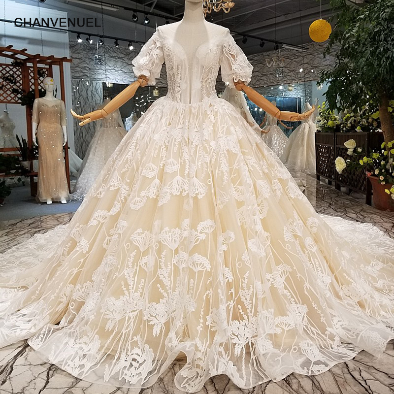 Keyhole Wedding Gowns: LS647141 Champagne Wedding Dresses O Neck Lantern Sleeves