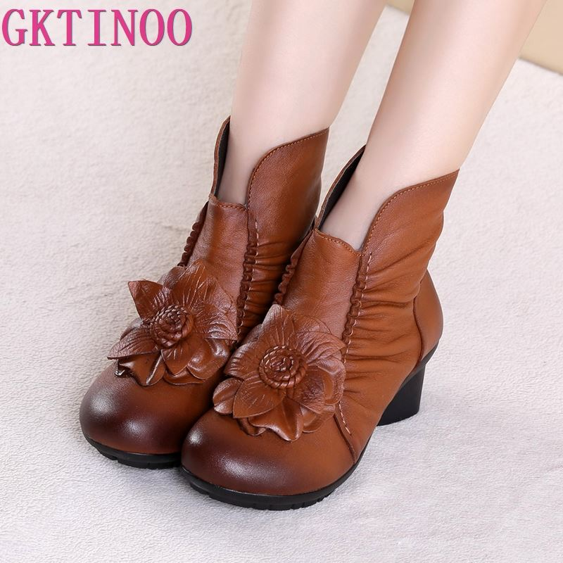 Autumn And winter Fashion Genuine Leather Shoes Women s Boots Casual Women Thick Heels Handmade Woman