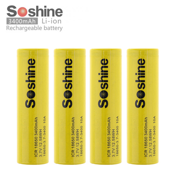 Soshine 18650 Batterry ICR18650 3400mAh 3.7V 12.58WH 10A Li-ion Rechargeable Battery for Electric Tool / Headlamp