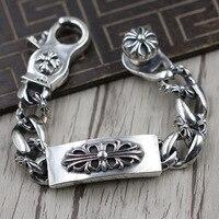 Тайский серебряный персональный Панк Крест Армия цветы широкий браслет серебро 925 ретро человек властная браслет