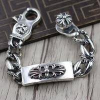 Thai Silver Personalized Punk Cross Army Flowers Thick Bracelet Sterling Silver 925 Retro Man Domineering Bracelet