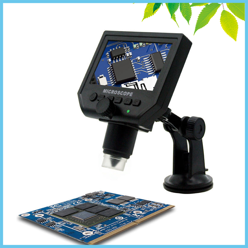 LED Illumination 600X LCD Digital Microscope 3.6MP Industrial Electron Video Camera Microscope Repair Zoom Magnifier digital electron microscope 3 5 inch lcd digital 500 times microscope with camera button 8 led light electron microscope 1pc