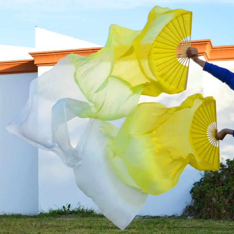 100% Real Silk Unisex High Quality Belly Dance Fans 1 Pair Belly Dance Fans Left Hand+Right Hand Silk Dance Long Fans 180x90cm