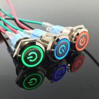 5Pcs Lot Waterproof Metal Push Button Switch With LED Light3V 5V 6V 12V 24V 36V 48V