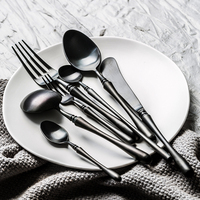 Household European Cutlery Spoon 3 Piece Stainless Steel Black Gold Tableware Table Knife Fork Spoon Kitchen Cutlery Set F6K