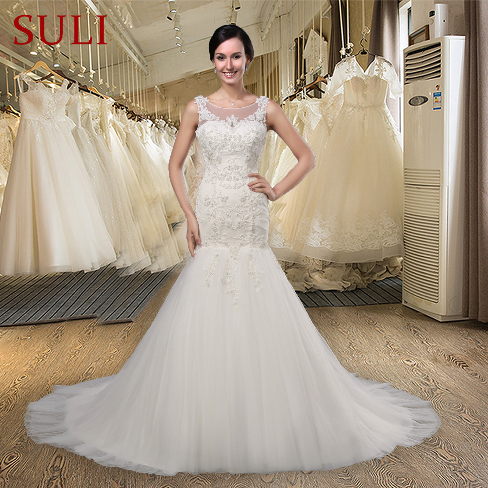 SLJ 005 Mermaid Lace Applique Crystal Pearls Wedding Dress Real
