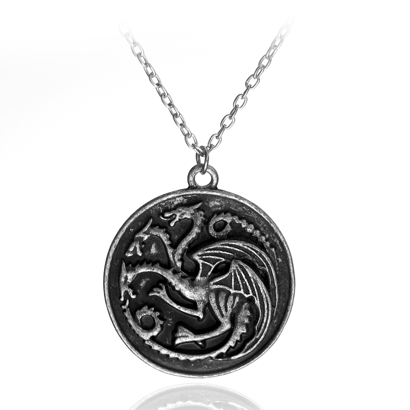 dongsheng Game Of Thrones Pendant Necklace Song of Ice House Lannister Targaryen Daenery Dragon Dragonlord Logo Necklace-30