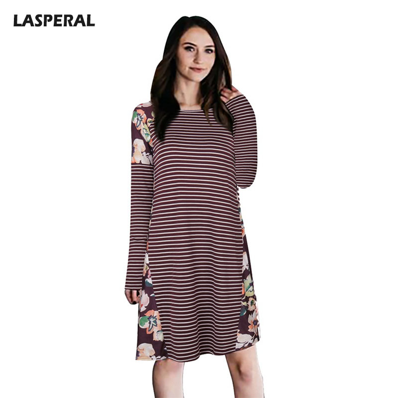 LASPERAL 2018 Spring Patchwork Knitted Dress Women Long Sleeve Flower Printed Dress Ladies Autumn Casual Loose Vestidos 2016 new spring autumn women floral printed knitted long dress sleeve female ladies plus size casual vestidos xxxxl 8968