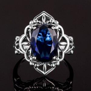 Image 5 - Szjinao Sapphire Rings owalny kwiat elegancki wiktoriański ciemny niebieski kamień szlachetny pierścień 925 Sterling silver Carve Kate Fine Jewelry Wedding