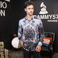 fashion new male free shipping men's long sleeved 2016 high block digital printing handsome barber nightclub stage floral shirt